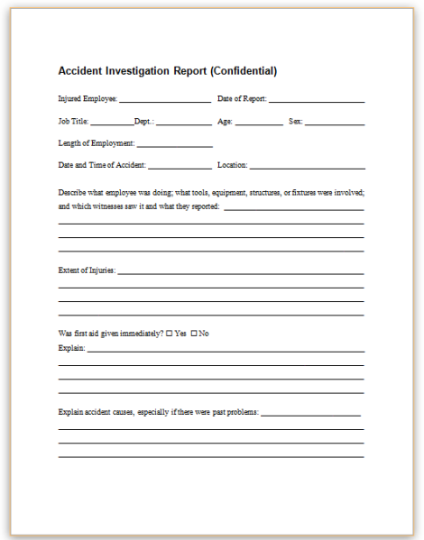 accident investigation report  confidential